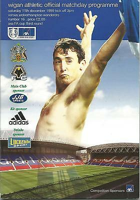 Football Programme - Wigan Athletic v Wolves - FA Cup - 11/12/1999