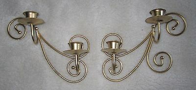 Set of 2=Vintage Gold Scrolled Metal Wall Tapered Candle Sconces