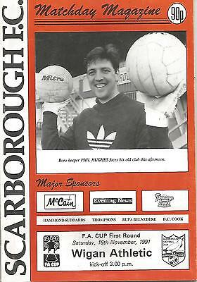 Football Programme - Scarborough v Wigan Athletic - FA Cup - 16/11/1991