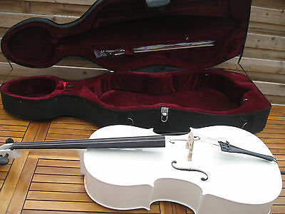 White 4/4 Cello Outfit with Hard Case, Bow, Rosin