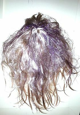 Hannah Montana, Disney Blonde with Purple Streaks Wig. Will fit adult. Messy wig