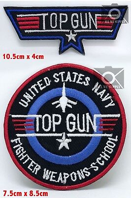 Usa Navy Top Gun, Iron-On Embroidered Patch - Badge Logo