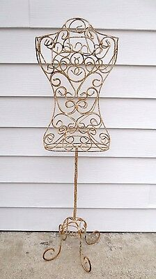 """RARE Antique 57"""" Wrought Iron Dress Form Mannequin Display Ornate Steampunk"""