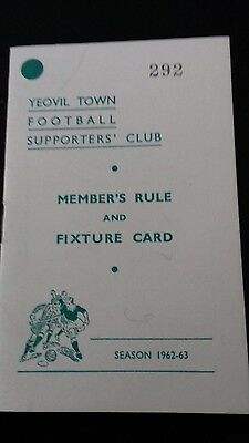 Yeovil t. Football supporters club member' s rules & fixture card . season 62-63