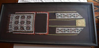 Early antique Native American HUGE beaded bandolier bag, museum framing