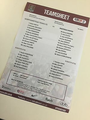 NORTHAMPTON TOWN vs SHEFFIELD UNITED PROMOTED   2016-17   1 x OFFICAL TEAMSHEET