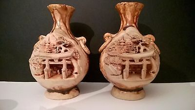 Antique Vintage Japanese Banko Pottery Vases With Script On The Backs