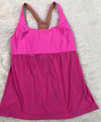 LULULEMON ATHLETICA Size 6 Babydoll  Cut Out Yoga Work Out Tank Top Pink  M29