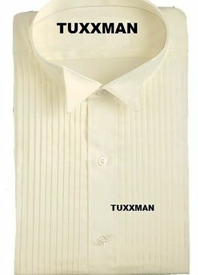 Men's Ivory Pleated Wing collar Tuxedo Shirt 65/35 Cheap Costume Sale TUXXMAN