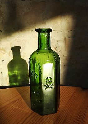 Germany - Antique Poison Bottle With Death Head - Glass Skull Crossbones