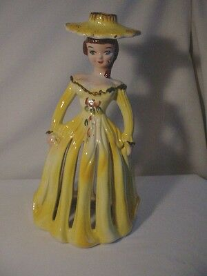 Kreiss Yellow Southern Belle NAPKIN DOLL LADY w Candleholder/Candle Holder
