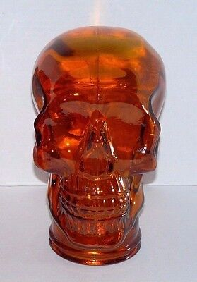 New Glass Human Skull Head Orange Decoration Haunted House Skeleton Obscure GOTH