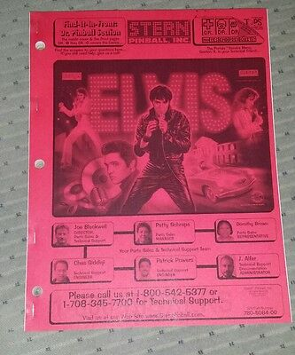 Stern Elvis Pinball manual. New.