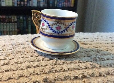 Miniature Cabinet Cup And Saucer With Gold Gilding