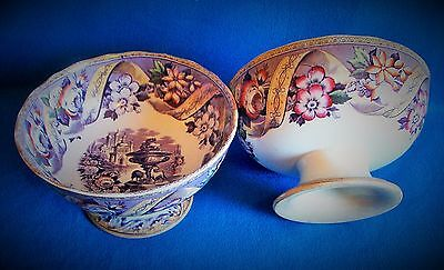 PAIR ANTIQUE SCOTTISH POTTERY TODDY BOWLS c1880 CLYDE POTTERY ALEXANDRIA Ptrn