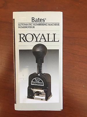 New Bates Royall Automatic Metal Numbering Stamp Machine # RNM6-7 in box