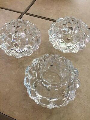 3 ORREFORS Crystal RASPBERRY BUBBLE VOTIVE CANDLE HOLDERS ANNE NILSSON SWEDEN