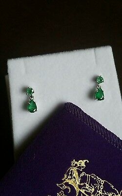 9ct Solid White Gold  Authentic Natural Emerald  articulated drop earrings.
