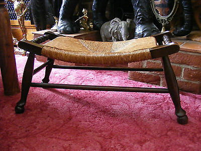 Antique Vintage French Dark Oak Wide Curved Rush Seat Bench Foot Stool Footstool