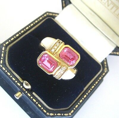 Vintage Christian Dior Signed Baguette Pink Glass Diamante Ring – Size N 1/2