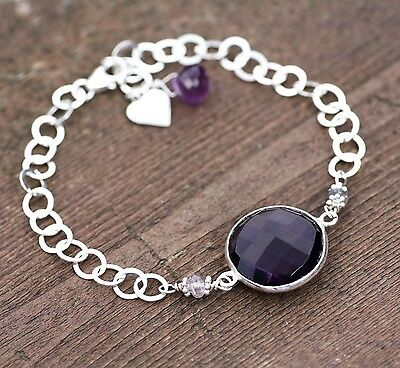 Natural Spinel and Amethyst Bracelet Sterling Silver Charm 6th 22nd Anniversary