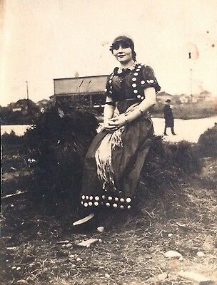 Vintage Woman Wearing Antique Dress Old Photo