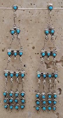 Native American Zuni Sterling Silver Petit Point Turquoise Chandelier Earrings