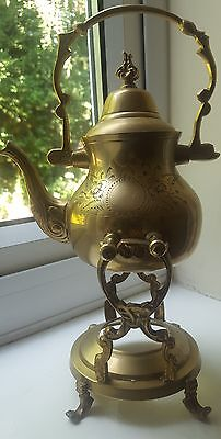 Old brass kettle and stand
