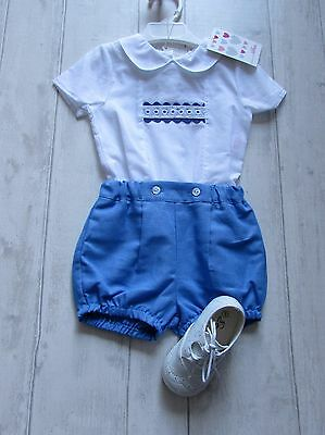 "Spanish Boys ""Alber"" Blue &White two piece romper set size 18 months BNWT"