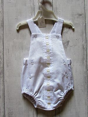 "Spanish Unisex ""Lolin"" romper suit  White BNWT 1  month"