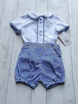 "Boys Spanish ""Baby-Ferr"" Blue &White two piece romper size 18 months"