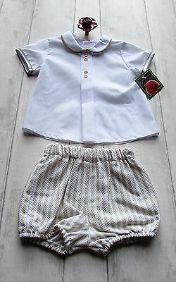 "Boys Spanish ""Ferregal"" White & Camel & Blue &White two piece size 3 -18 month"