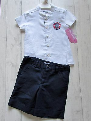 "Spanish Boys ""Kiriki"" Blue &White two piece romper set size 24 & 36 months BNWT"