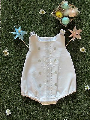"Unisex Spanish ""Alves"" romper White & Taupe /White &blue Twins? 3 months ""SALE"""