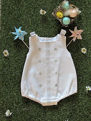 "Unisex Spanish ""Alves"" romper suit  White & Taupe /White &blue Twins? 3 months"