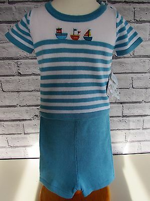 "Boys ""Rock-a-Bye"" Cotton Teal Boat two piece  set size 0-12 months bnwt"