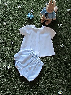 "Spanish ""Ferregal"" Boys White & Baby Blue two piece set 12 months bnwt"