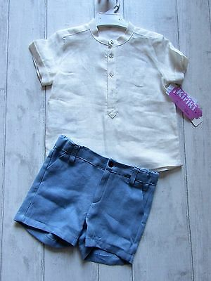 "Spanish Boys ""Kiriki"" Blue Linen two piece  set size 24 months BNWT last one"