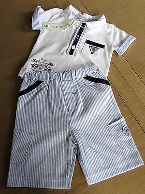 "Boys ""KRIS X KIDS"" White two piece Vintage racers set size 0-3 & 3-6 months bnwt"
