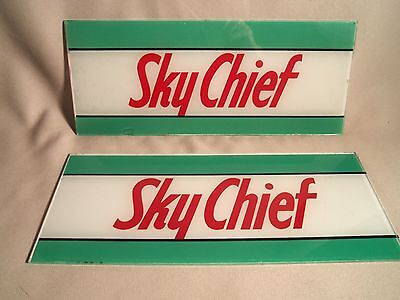 Vintage Pair  Sky Chief Ad Glass For Gas Pumps