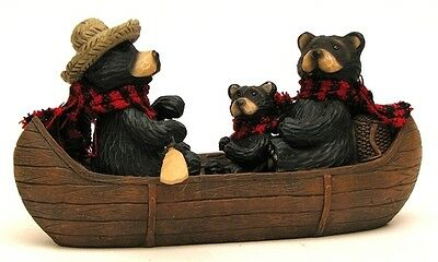 Resin Bear Family  Fishing In Canoe Figurine  Animal Collectible Cabin  Decor
