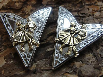"Silver and Gold Tone Western Collar Tips ""Dancing"""