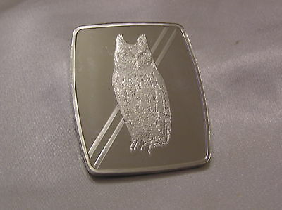 Solid Silver Ingot Official World Wildlife Collection Seychelles Owl Wwf
