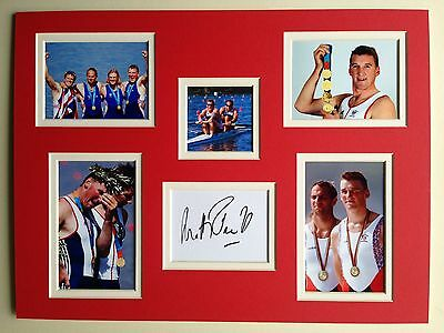 """Rowing Matthew Pinsent Signed 16"""" X 12"""" Double Mounted Display"""