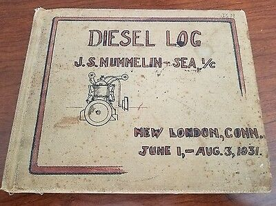 1931 Submarine Diesel Log Handwritten Diesel Mechanic School Illustrated Signed