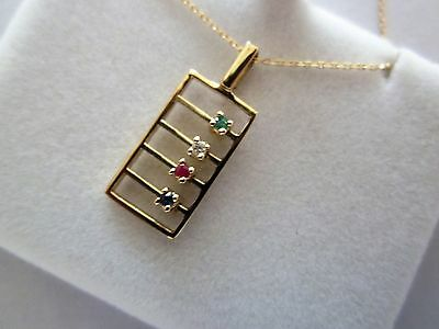 "9ct Gold  ""Abacus"" Pendant Necklace with 15 inch chain"