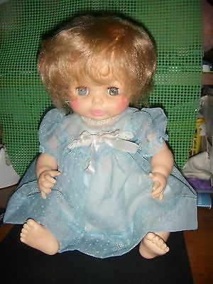 "Horsman Doll 1974 13"" Baby Doll In Pretty Dress & Slip"