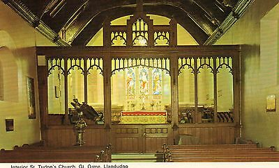 Postcard Llandudno interior  St Tudno's Church Gt Orme real photograph unposted