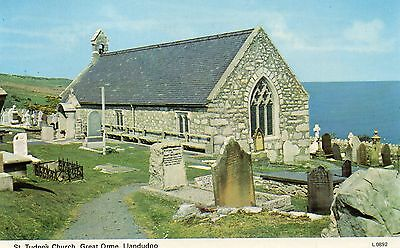 Postcard Llandudno St Tudno's Church Great Orme  real  photograph unposted