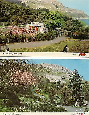 2 Postcard Llandudno Happy Valley  L0858 and L0811 real  photograph unposted